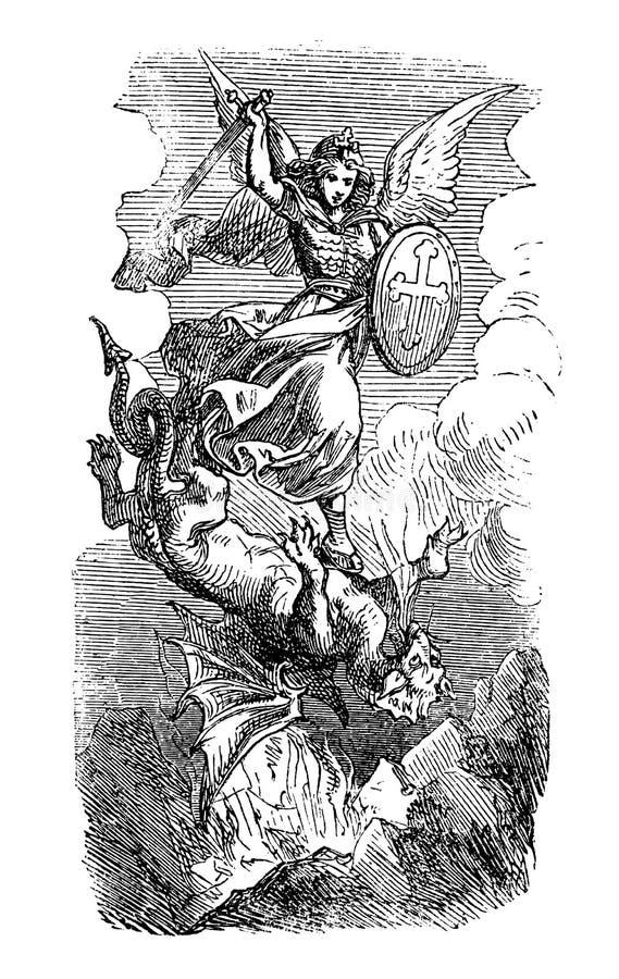 Weinlese-Zeichnung des biblischen Erzengels Michael Fighting With Satan als Drache lizenzfreie abbildung
