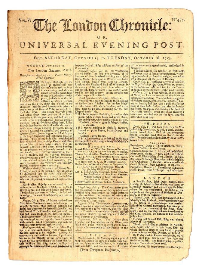 Weinlese-Zeitung von 1759 stockfoto