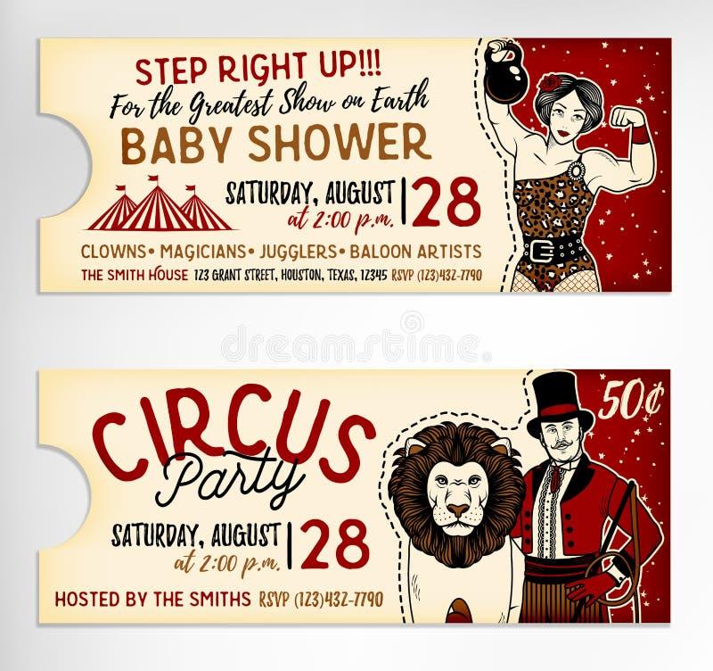 Weinlese-Zirkus-Karten auf weißem Hintergrund Auch im corel abgehobenen Betrag lizenzfreie abbildung