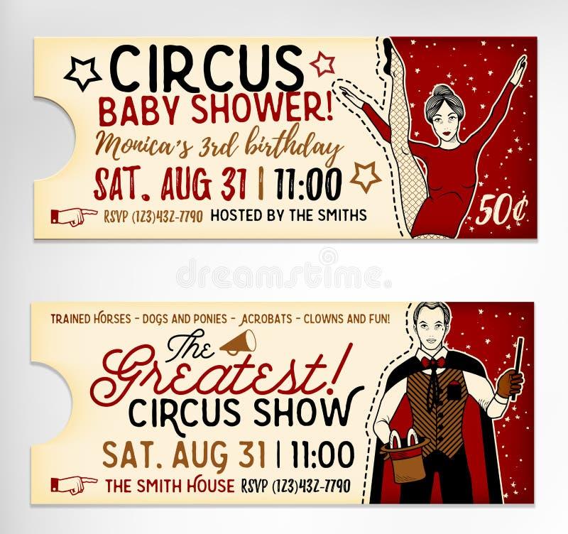 Weinlese-Zirkus-Karten auf weißem Hintergrund Auch im corel abgehobenen Betrag vektor abbildung