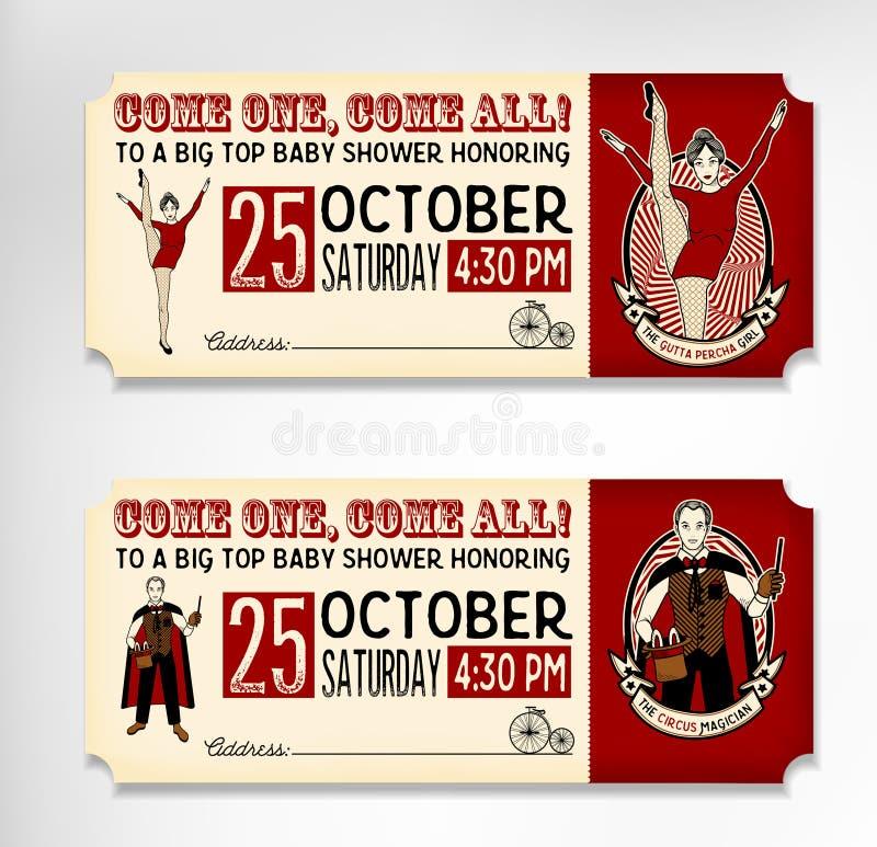 Weinlese-Zirkus-Karten auf weißem Hintergrund Auch im corel abgehobenen Betrag stock abbildung