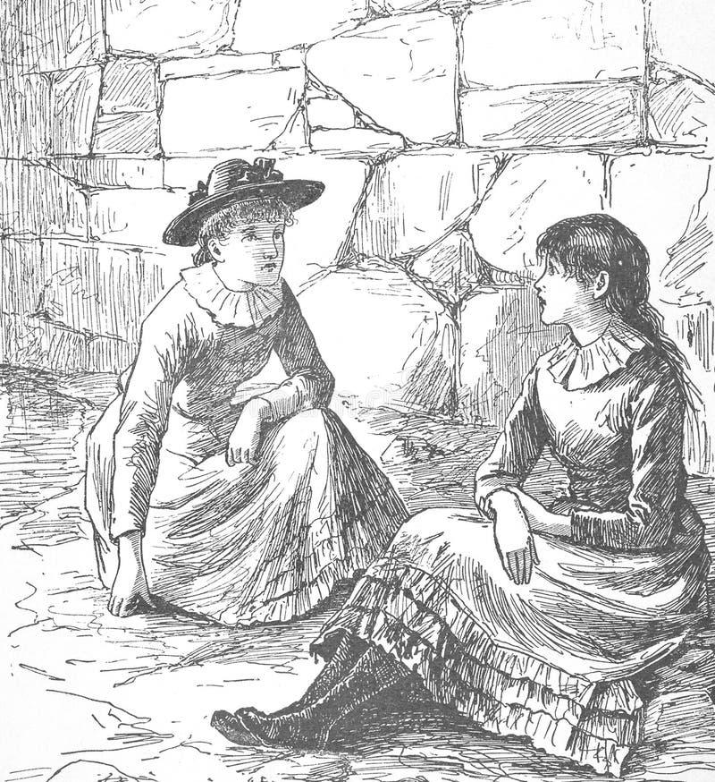 Weinleseabbildung 1882 lizenzfreies stockfoto