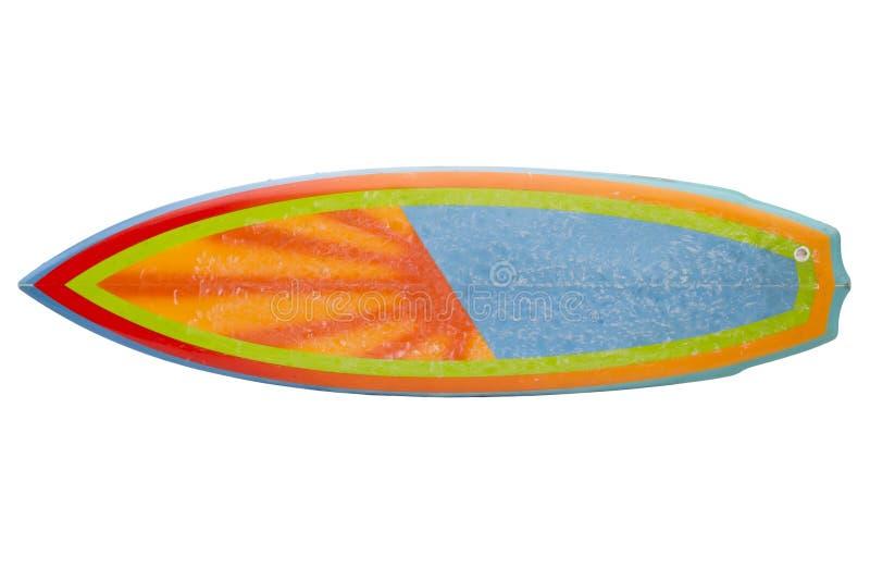 Weinleseachtziger jahre Surfbrett lokalisiert auf Weiß lizenzfreies stockbild