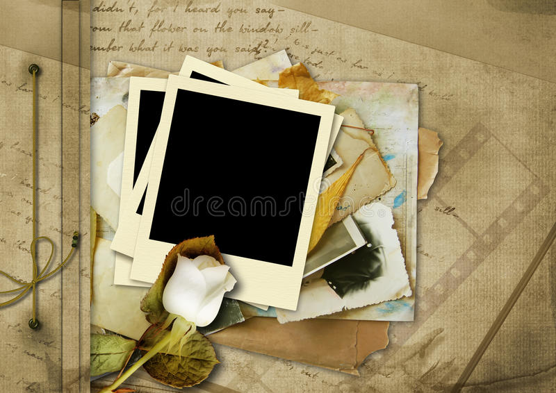 Weinlesealbum mit Polaroid stock abbildung