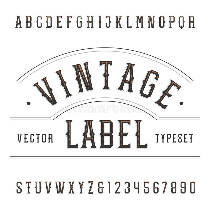 Weinlesealphabet-Vektorguß Schreiben Sie Buchstaben und Zahlen in der Westart lizenzfreie abbildung