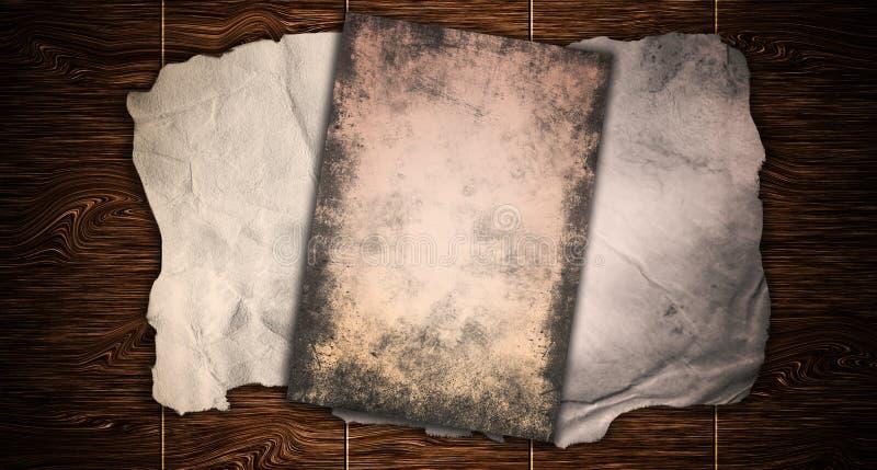 Weinlesealte grungy Papierfahne über alter hölzerner Beschaffenheitshintergrundmetapher für gealtert, Retro-, hölzern, schmutzig, vektor abbildung