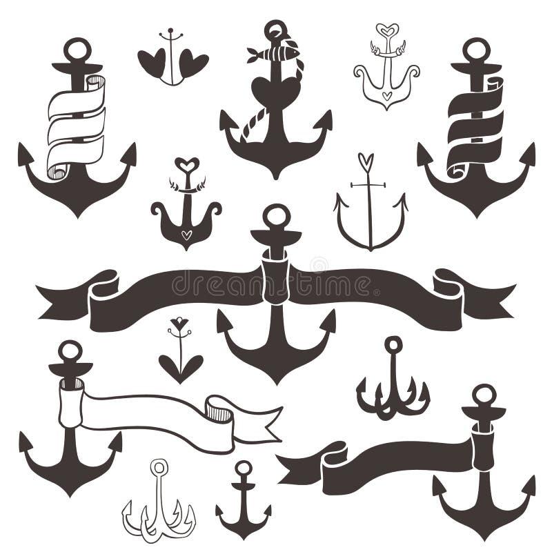 Weinleseanker mit Bandfahnen Hand gezeichnete Elemente stock abbildung