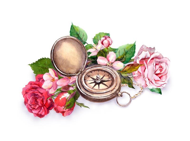 Weinleseaquarell mit Kompass, Blumen Romantisches Konzept der Reise stock abbildung