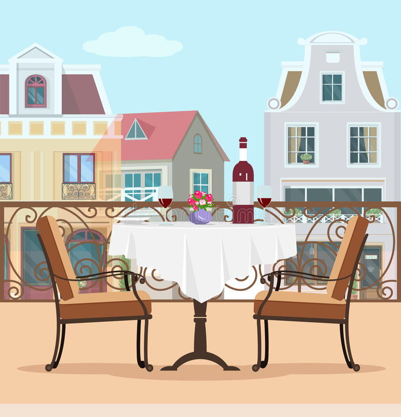 Weinleseart-Vektorbalkon mit Tabelle und Stühlen Buntes grafisches flaches Konzept des Terrassen- und Stadthintergrundes stock abbildung