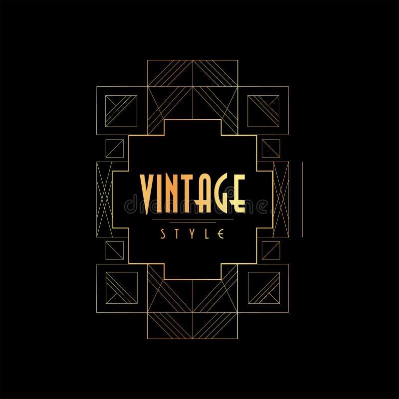 Weinleseart-Vektorillustration, Gold und schwarzes elegantes Emblemlogo, Retro- Schablone für Einladung, Grußkarte stock abbildung