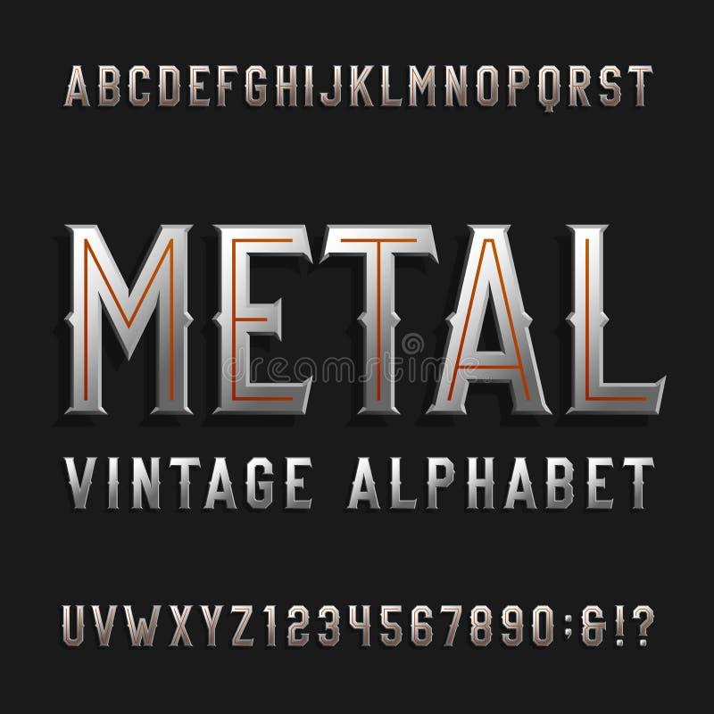 Weinleseartalphabet-Vektorguß Metalleffektbuchstaben und -zahlen lizenzfreie abbildung
