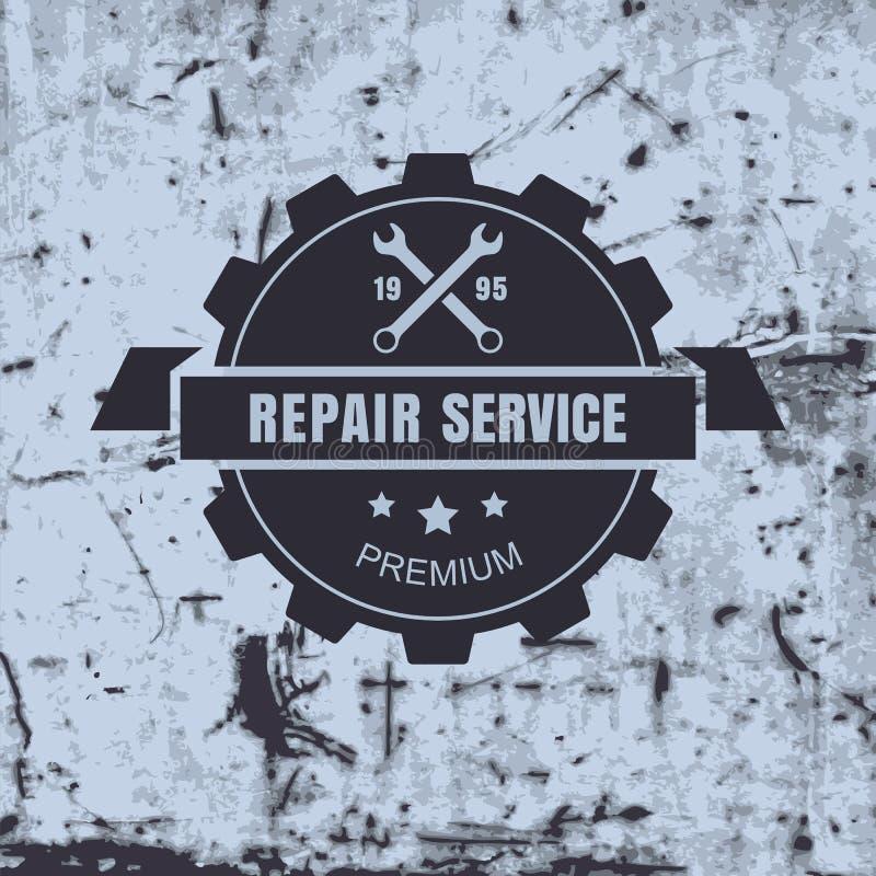 Weinleseartauto-Reparaturservice-Aufkleber auf rostigem Hintergrund Vect stock abbildung