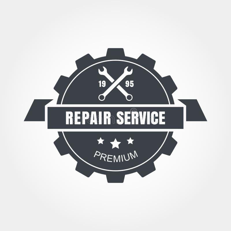 Weinleseartauto-Reparaturservice-Aufkleber Vektorlogo-Design templ lizenzfreie abbildung