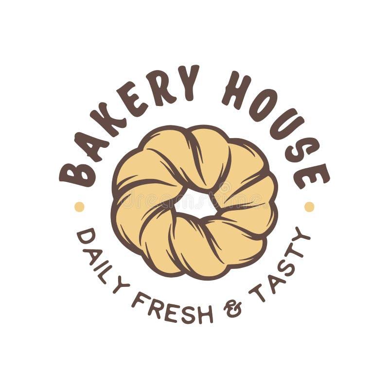 Weinleseartbäckerei-Shopaufkleber, Ausweis, Emblem, Logo vektor abbildung