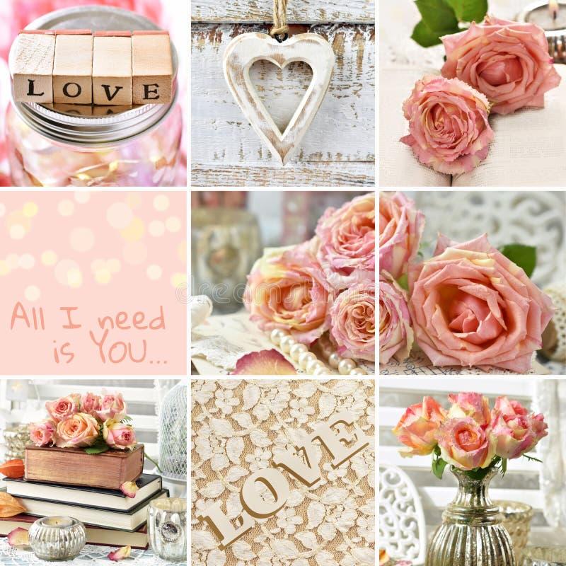 Weinleseartcollage mit Rosen und Liebessymbolen stockfotos