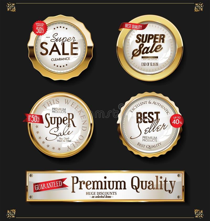 Weinleseartentwurfs-Vektorsammlung des Papier-Preises Retro- stock abbildung