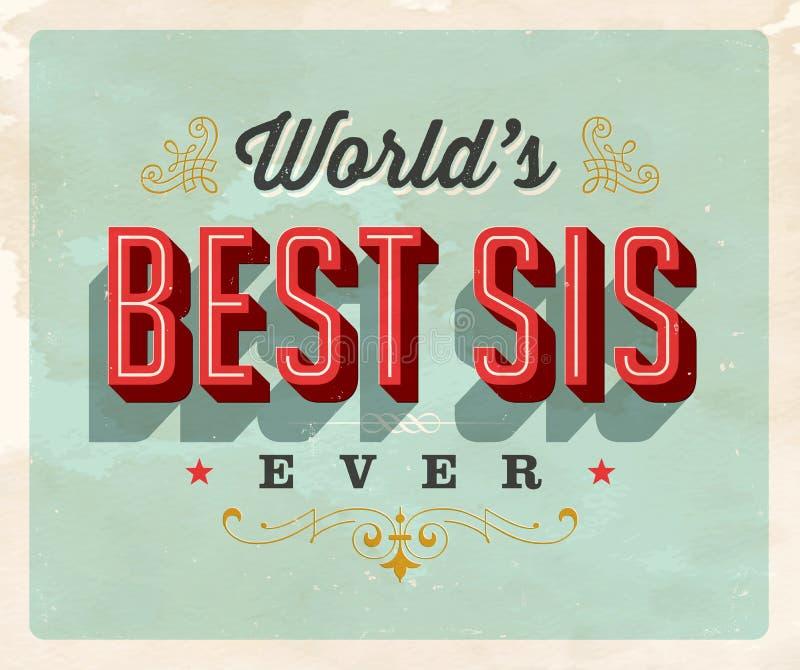 Weinleseartpostkarte - World's beste Sis Ever stock abbildung