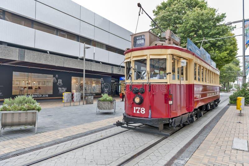 Weinlesearttram auf der Christchurch-Straßenbahn bietet eine einzigartige Stadtrundfahrt durch die klassische Weise des Transport lizenzfreie stockbilder