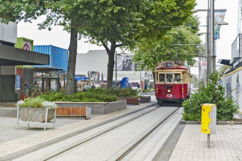 Weinlesearttram auf der Christchurch-Straßenbahn am Re: Anfangsmall bietet eine einzigartige Stadtrundfahrt durch die klassische  lizenzfreie stockbilder