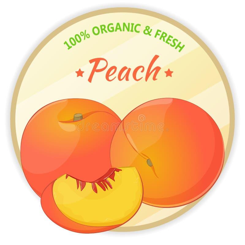 Weinleseaufkleber mit dem Pfirsich lokalisiert auf weißem Hintergrund in der Karikaturart Auch im corel abgehobenen Betrag Obst u lizenzfreie abbildung
