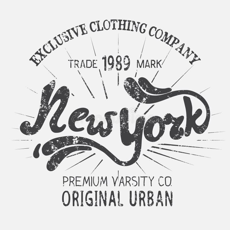 Weinleseaufkleber mit New- York Citydesign stock abbildung