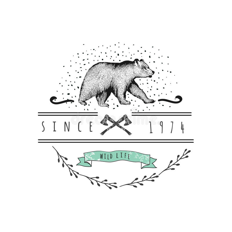 Weinleseaufkleberbär Design für T-Shirt stock abbildung