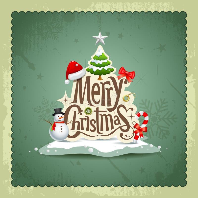 Weinleseauslegunghintergrund der frohen Weihnachten lizenzfreie abbildung