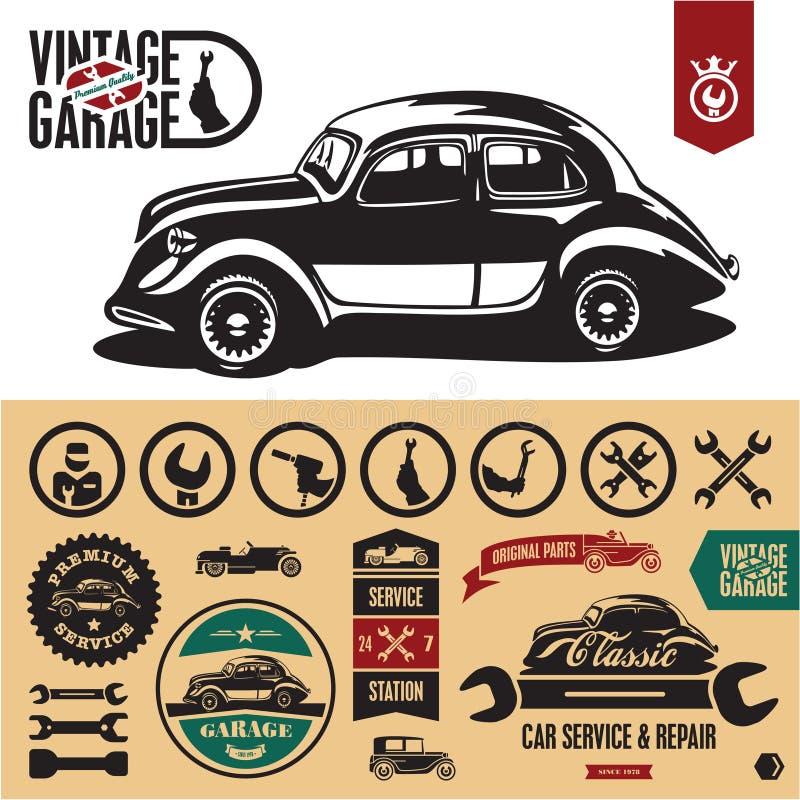 Weinleseauto-Garagekennsätze, Zeichen stock abbildung