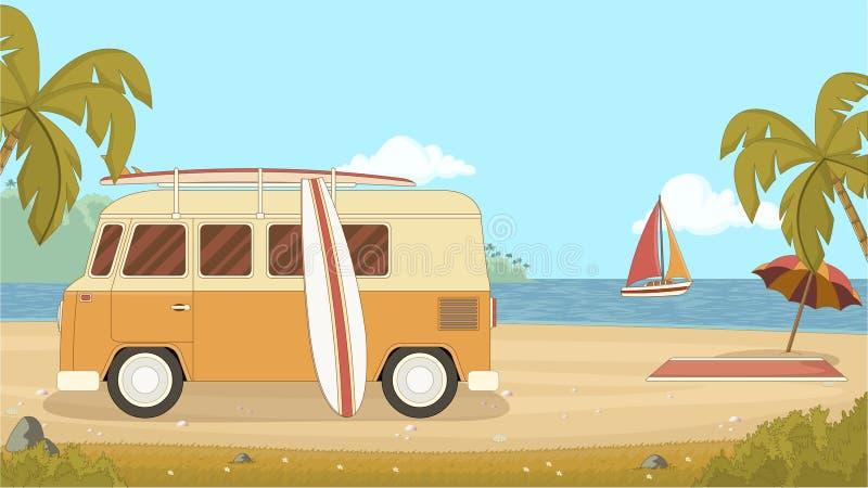 Weinleseauto im Strand mit einem Surfbrett auf dem Dach Glückliche Familie für Ihr, vektor abbildung