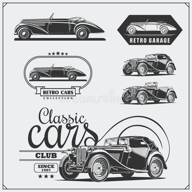 Weinleseautos eingestellt Retro- Autogarage Klassische Muskelautoaufkleber, -embleme und -Gestaltungselemente lizenzfreie abbildung