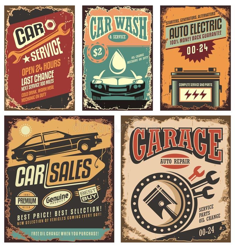 Weinleseautoservice-Metallschilder und -Poster stock abbildung