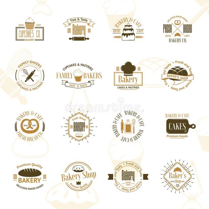 Weinlesebäckerei wird, Aufkleber und Logos deutlich lizenzfreie abbildung