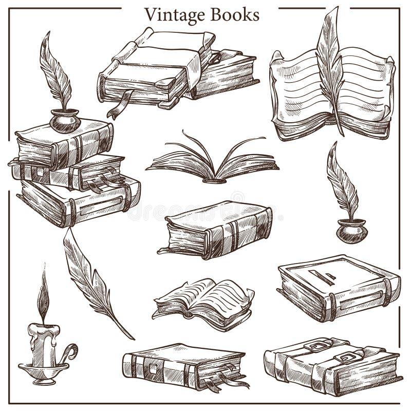 Weinlesebücher lokalisierten Skizzen mit Federn versehen und Tintentopf lizenzfreie abbildung