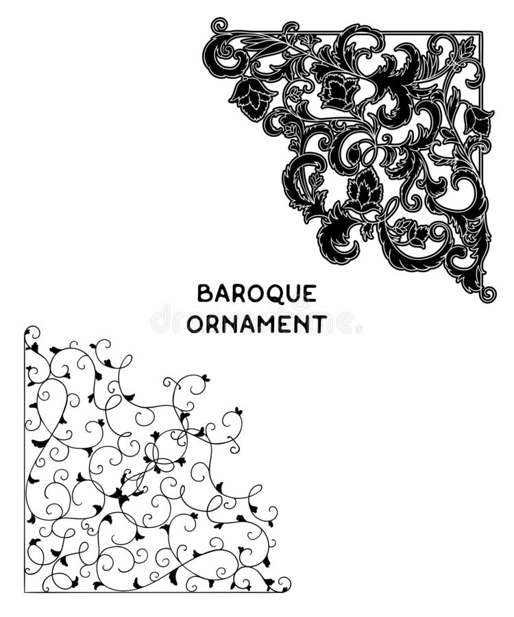 Weinlesebarocke Eckverzierung Dekoratives Gestaltungselement des Damastes mit Filigran geschmückt stock abbildung