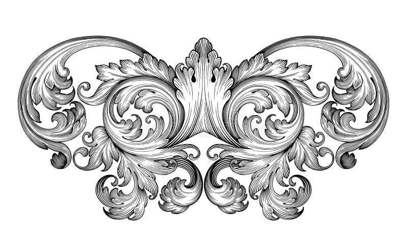Weinlesebarockrahmenrollen-Verzierungsvektor vektor abbildung