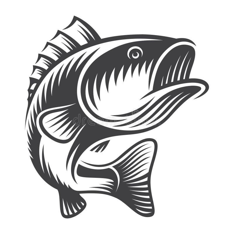 Weinlesebass-Fischkonzept vektor abbildung