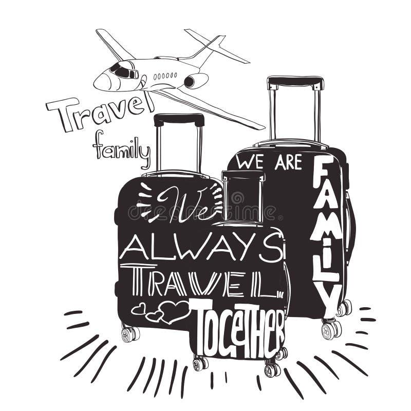 Weinlesebeschriftungsgepäck für Reise Reiseinspirationszitate stock abbildung