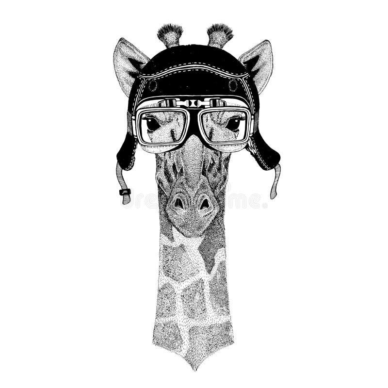 Weinlesebilder der Giraffe für T-Shirt entwerfen für Motorrad, Fahrrad, Motorrad, Rollerclub, aero Club stock abbildung