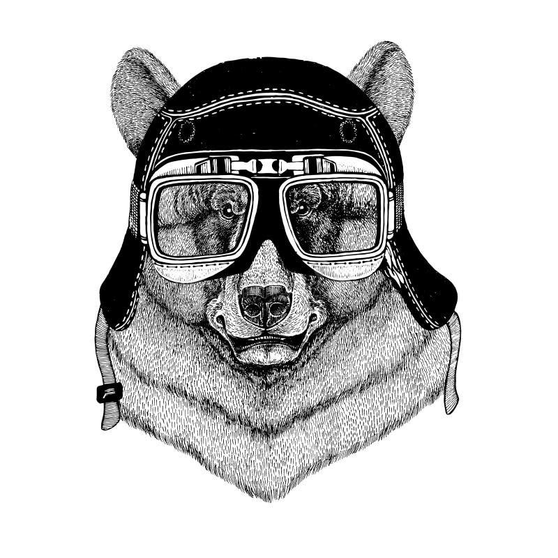 Weinlesebilder des schwarzen Bären für T-Shirt entwerfen für Motorrad, Fahrrad, Motorrad, Rollerclub, aero Club vektor abbildung
