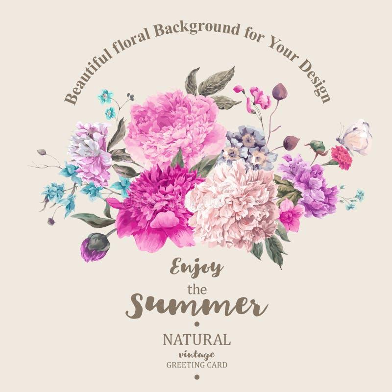 Weinleseblüht Blumenvektorblumenstrauß von Pfingstrosen und von Garten lizenzfreie abbildung