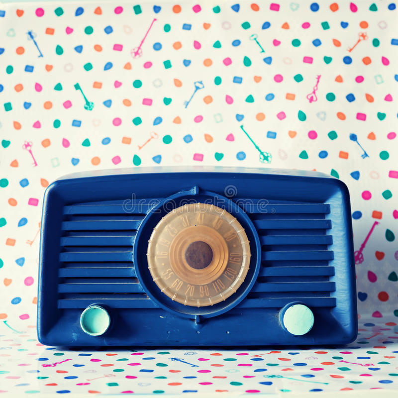 Weinleseblau Radio stockbilder