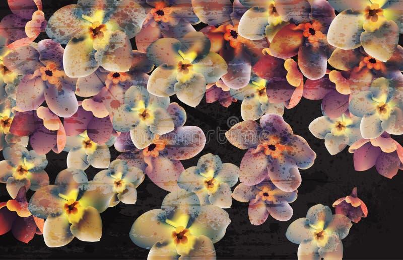 Weinleseblumen auf dunklem Hintergrund Vektor Tapetenblumendekorschönheitsfrühlings-Sommerblumen stock abbildung