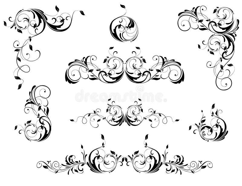 Weinleseblumengrenzen, Winkel und Titelvektorsatz Retro- Schwarzweiss-Entwurf lizenzfreie abbildung