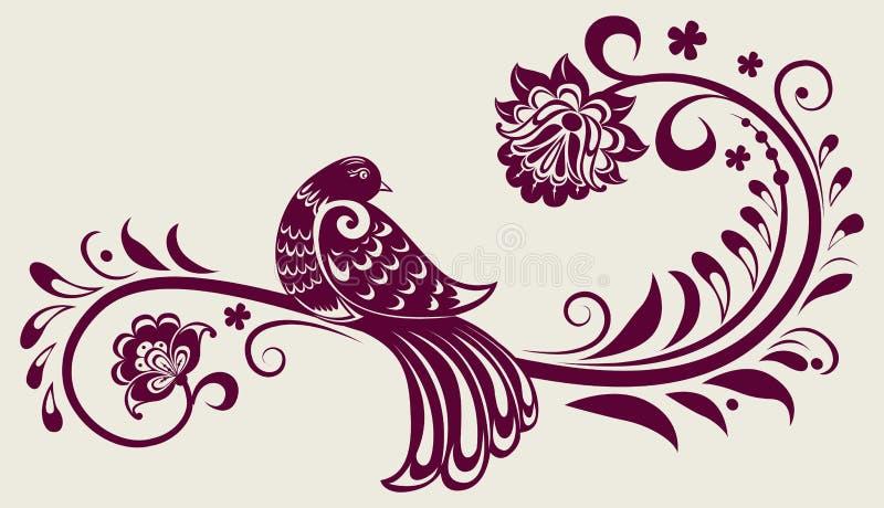 Weinleseblumenhintergrund mit dekorativem Vogel vektor abbildung