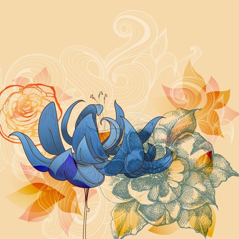 Weinleseblumenkarte, -lilien und -rosen entwerfen vektor abbildung