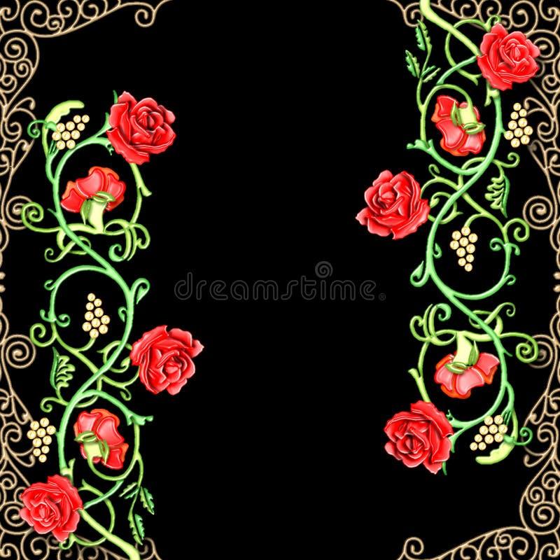 Weinleseblumenmotiv der roten Rosen stock abbildung