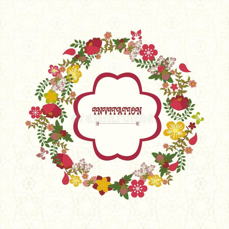 Weinleseblumenrahmen Blumen-Kranz - Illustration stock abbildung