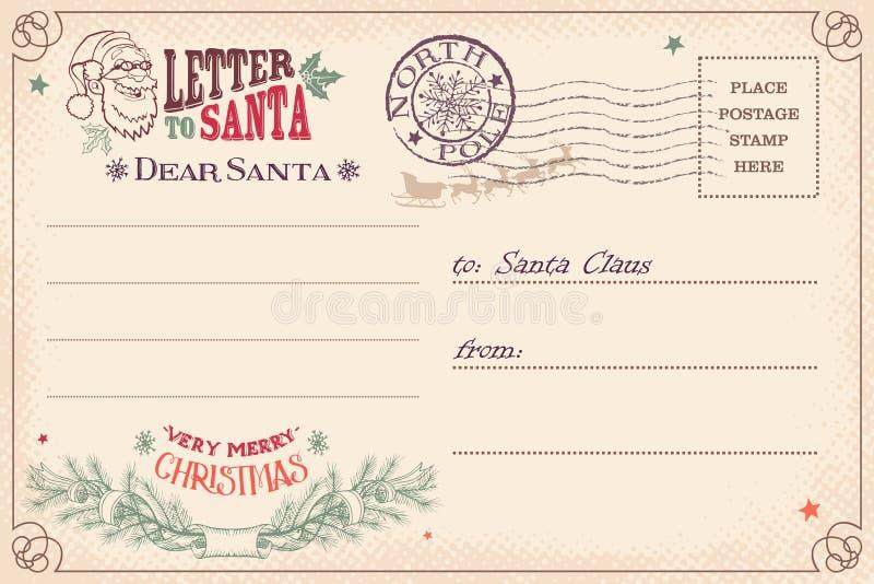 Weinlesebuchstabe zu Santa Claus-Postkarte stock abbildung