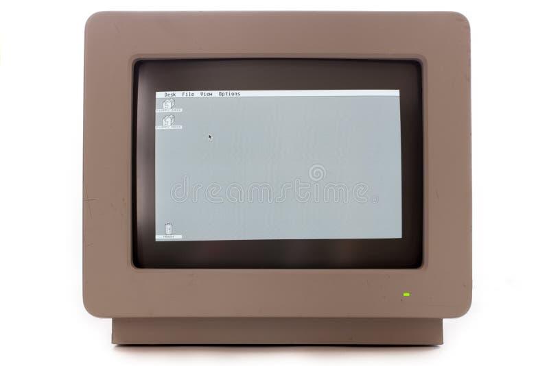 Weinlesecomputer-Monitoranzeige Retro- Kathodenstrahlröhre monochr lizenzfreies stockbild