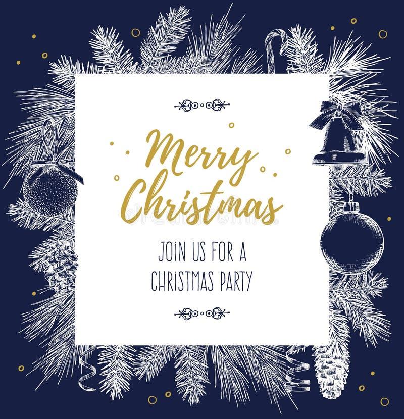 Weinlesedesign für Grußkarte oder Einladung für Weihnachtsfeier Vektorrahmen mit Hand gezeichneten Elementen: Niederlassungen von lizenzfreie abbildung